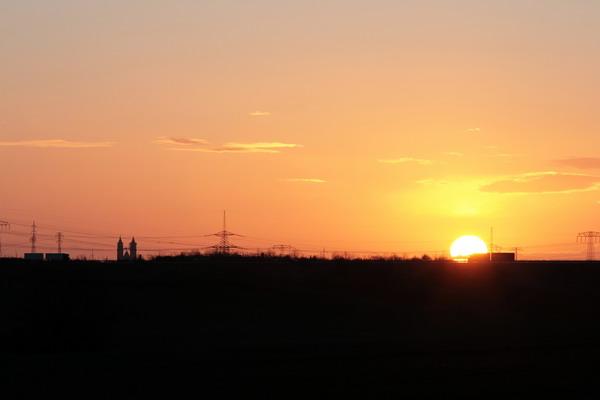 Sonnenaufgang in NiederndodeLEBEN Richtung Magdeburg A14