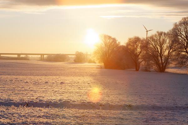Mein NiederndodeLEBEN bei Magdeburg - Abendstimmung im Winter Rtg A14