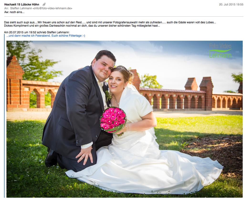 Jenny bewertet Hochzeitsfotograf magdeburg Lehmann